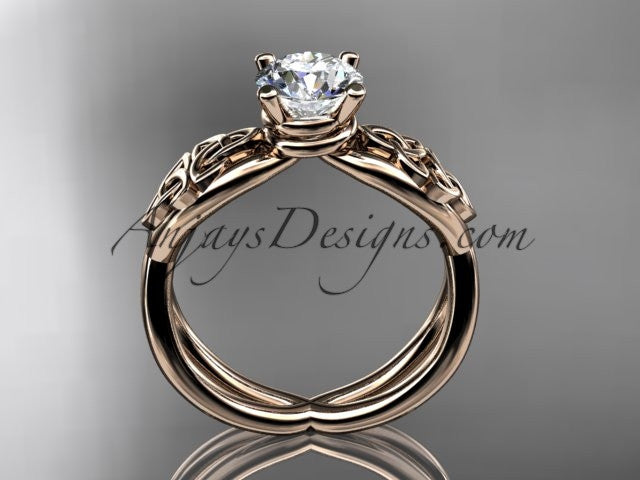 "14kt rose gold celtic trinity knot engagement ring, wedding ring with a ""Forever One"" Moissanite center stone CT770 - AnjaysDesigns"