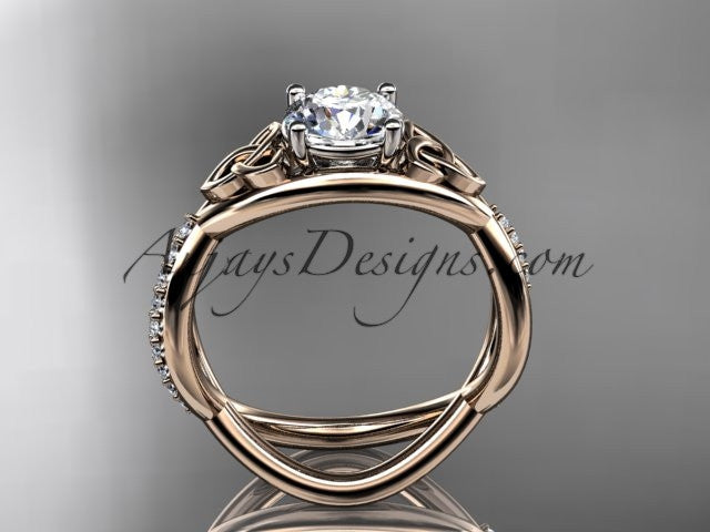"14kt rose gold celtic trinity knot engagement ring, wedding ring with a ""Forever One"" Moissanite center stone CT790 - AnjaysDesigns"