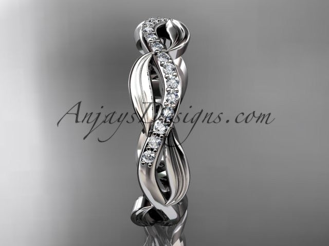 14k white gold diamond leaf and vine wedding ring, engagement ring, wedding band ADLR100B - AnjaysDesigns