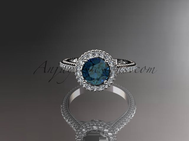 14kt white gold diamond floral wedding ring,engagement ring with blue sapphire center stone ADLR101 - AnjaysDesigns