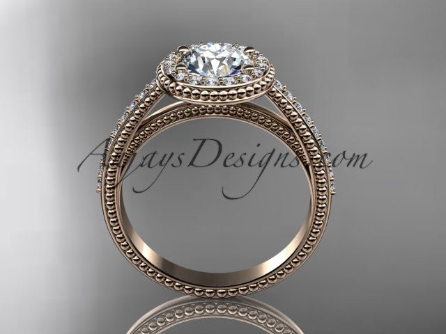 14kt rose gold diamond unique engagement ring, wedding ring ADER104 - AnjaysDesigns