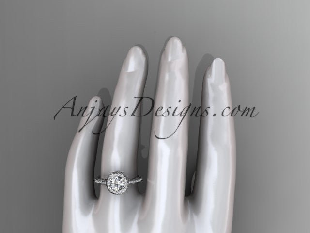 14kt white gold diamond unique engagement ring, wedding ring ADER104 - AnjaysDesigns