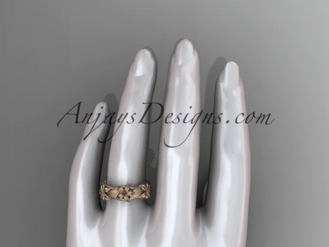 14kt rose gold diamond leaf and vine, floral wedding ring, wedding band ADLR105 - AnjaysDesigns