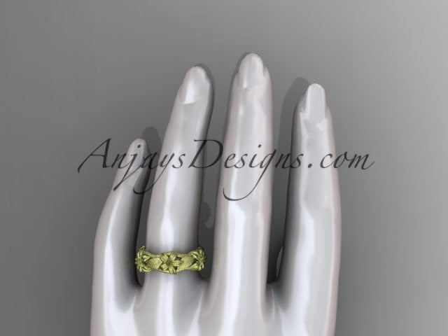 14kt yellow gold leaf and vine, floral wedding ring ADLR105 - AnjaysDesigns