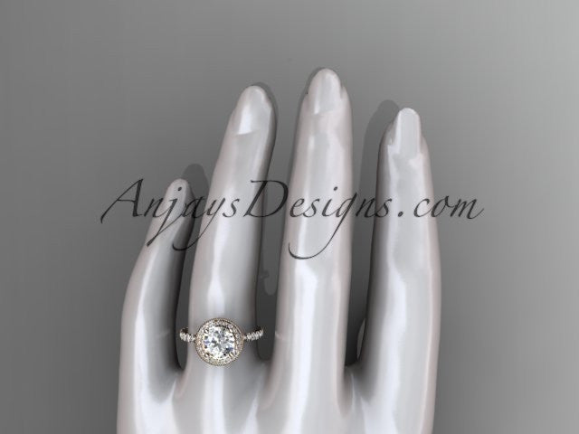 14kt rose gold diamond unique engagement ring, wedding ring ADER106 - AnjaysDesigns