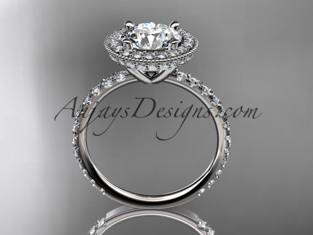 14kt white gold diamond unique engagement ring, wedding ring ADER106 - AnjaysDesigns