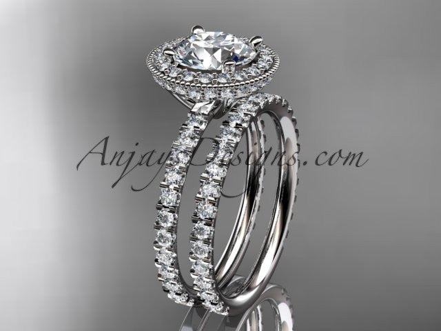 14kt white gold diamond unique wedding ring, engagement ring ADER106S - AnjaysDesigns