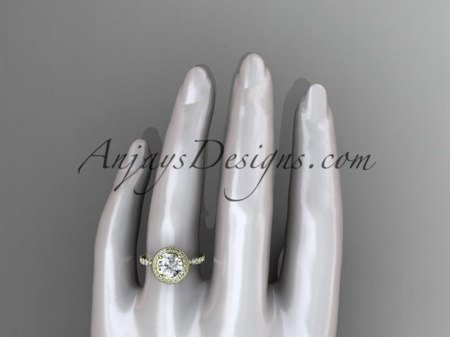 14kt yellow gold diamond unique engagement ring, wedding ring ADER106 - AnjaysDesigns