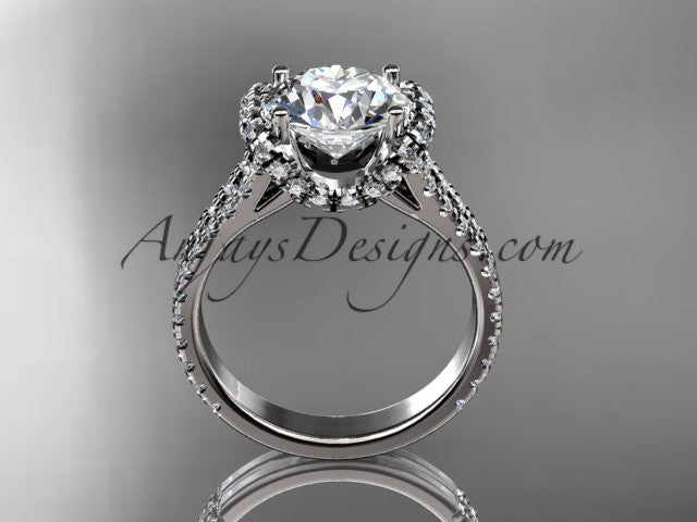 14kt white gold diamond unique engagement ring, wedding ring ADER107 - AnjaysDesigns