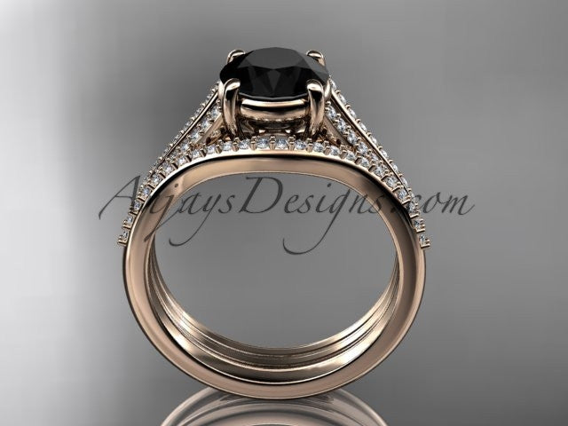 14kt rose gold diamond unique engagement set, wedding ring with a Black Diamond center stone ADER108S - AnjaysDesigns