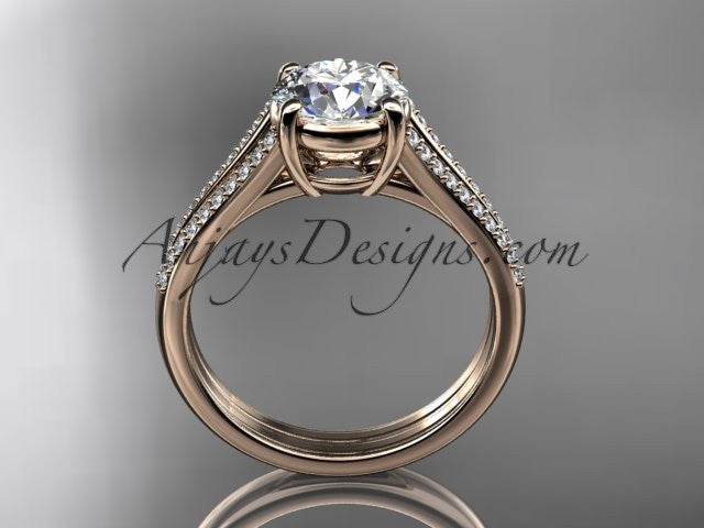 14kt rose gold diamond unique engagement ring, wedding ring ADER108 - AnjaysDesigns