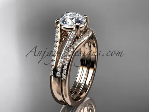 "14kt rose gold diamond unique engagement set, wedding ring with a ""Forever One"" Moissanite center stone ADER108S - AnjaysDesigns"