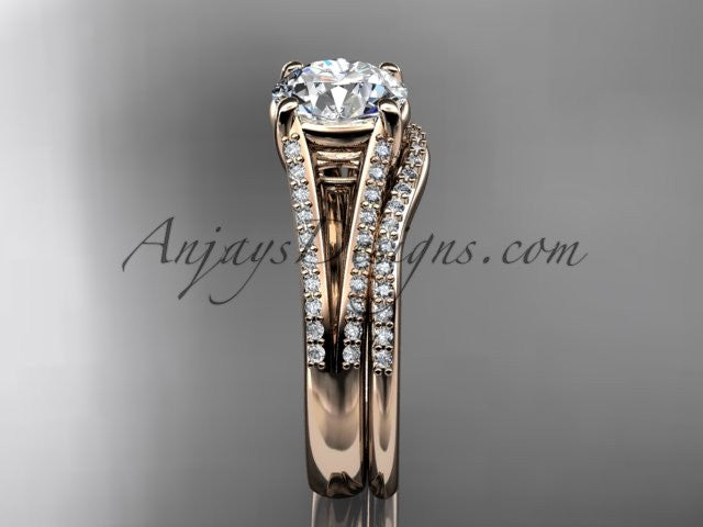 14kt rose gold diamond unique engagement set, wedding ring ADER108S - AnjaysDesigns