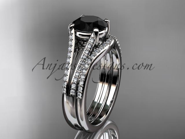 platinum diamond unique engagement set, wedding ring with a Black Diamond center stone ADER108S - AnjaysDesigns