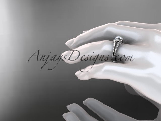 platinum diamond unique engagement ring, wedding ring ADER108 - AnjaysDesigns