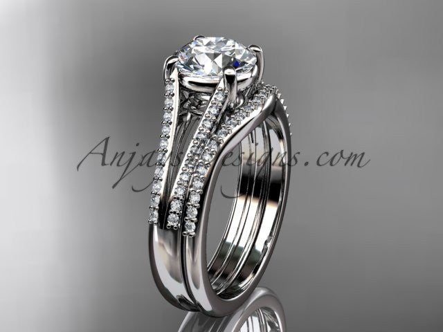"platinum diamond unique engagement set, wedding ring with a ""Forever One"" Moissanite center stone ADER108S - AnjaysDesigns"