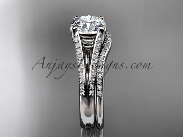 14kt white gold diamond unique engagement set, wedding ring ADER108S - AnjaysDesigns