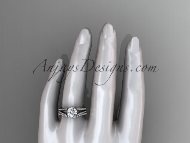 "14kt white gold diamond unique engagement set, wedding ring with a ""Forever One"" Moissanite center stone ADER108S - AnjaysDesigns"