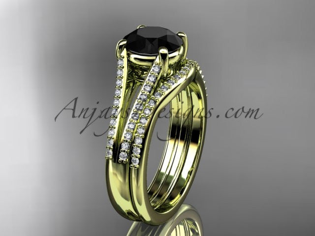 14kt yellow gold diamond unique engagement set, wedding ring with a Black Diamond center stone ADER108S - AnjaysDesigns