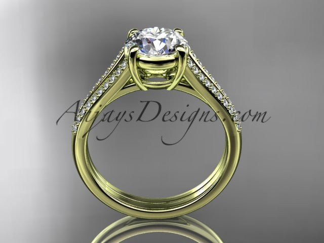 14kt yellow gold diamond unique engagement ring, wedding ring ADER108 - AnjaysDesigns