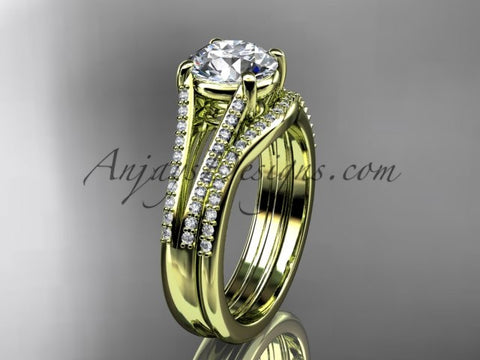 "14kt yellow gold diamond unique engagement set, wedding ring with a ""Forever One"" Moissanite center stone ADER108S - AnjaysDesigns"