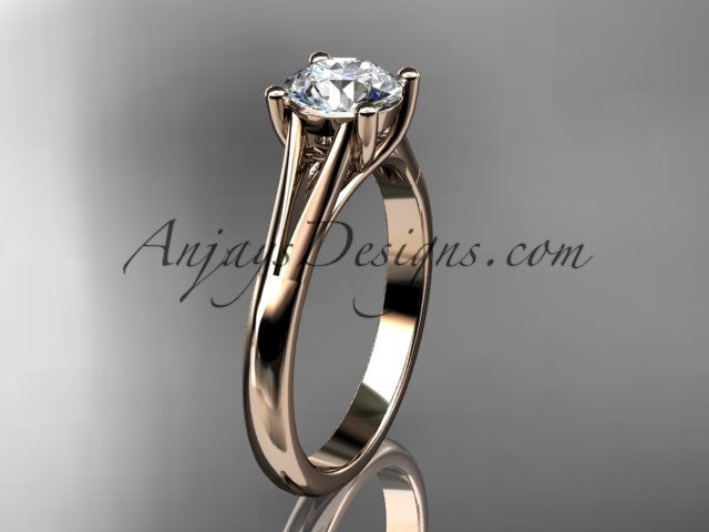 14kt rose gold diamond unique engagement ring, wedding ring, solitaire ring ADER109 - AnjaysDesigns