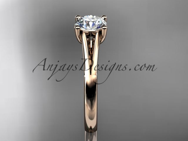 "14kt rose gold diamond unique engagement ring, wedding ring, solitaire ring with a ""Forever One"" Moissanite center stone ADER109 - AnjaysDesigns"