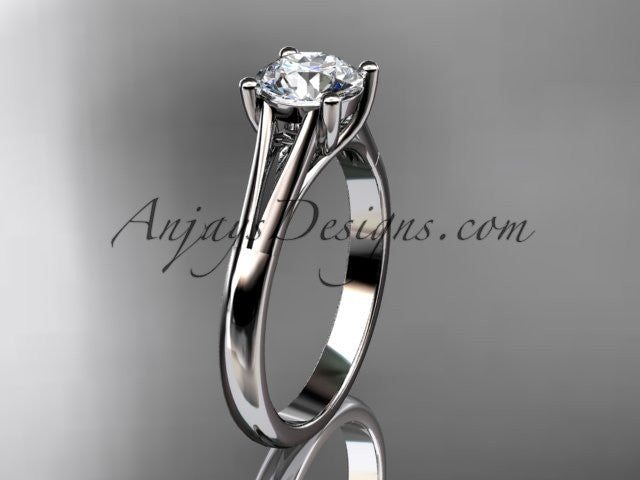 14kt white gold diamond unique engagement ring, wedding ring, solitaire ring ADER109 - AnjaysDesigns