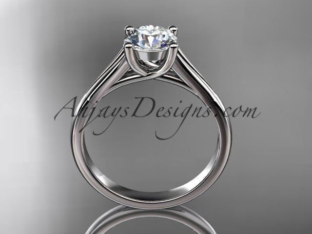 "platinum unique engagement ring, wedding ring, solitaire ring with a ""Forever One"" Moissanite center stone ADER109 - AnjaysDesigns"