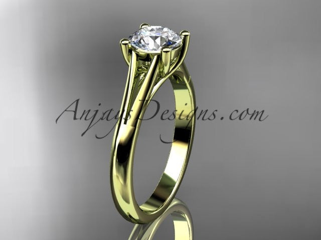14kt yellow gold diamond unique engagement ring, wedding ring, solitaire ring ADER109 - AnjaysDesigns