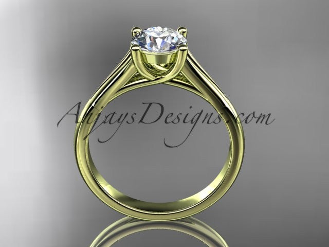 "14kt yellow gold unique engagement ring, wedding ring, solitaire ring with a ""Forever One"" Moissanite center stone ADER109 - AnjaysDesigns"
