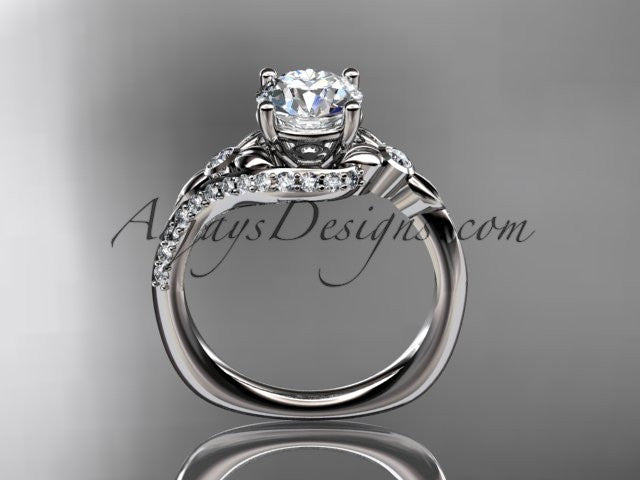 "14kt white gold diamond leaf and vine engagement ring with a ""Forever One"" Moissanite center stone ADLR112 - AnjaysDesigns"