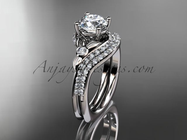 14kt white gold diamond leaf and vine engagement ring set  ADLR112S - AnjaysDesigns