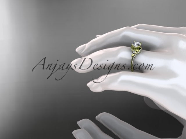 14kt yellow gold diamond leaf and vine engagement ring ADLR112 - AnjaysDesigns