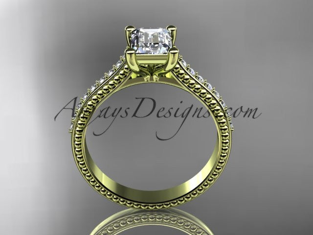 14kt yellow gold diamond unique engagement ring, wedding ring ADER113 - AnjaysDesigns