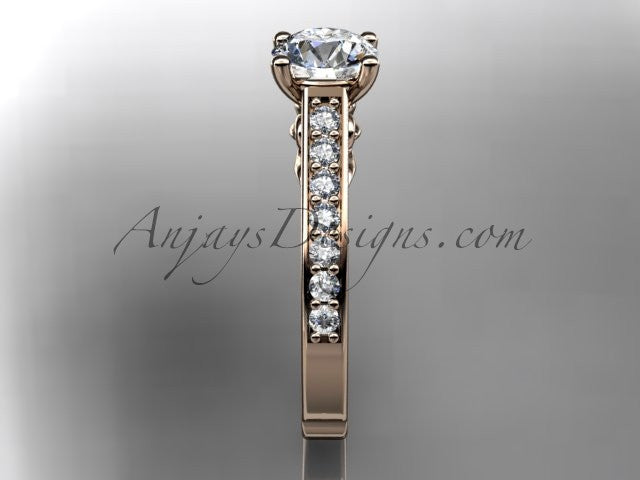 14kt rose gold diamond unique engagement ring, wedding ring ADER114 - AnjaysDesigns