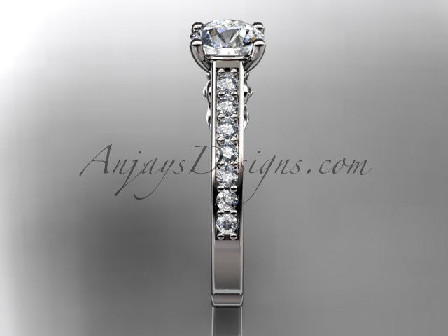 platinum diamond unique engagement ring, wedding ring ADER114 - AnjaysDesigns
