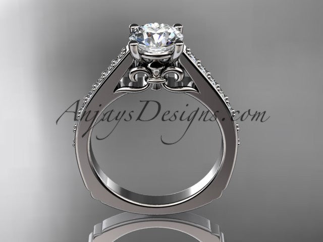 14kt white gold diamond unique engagement ring, wedding ring ADER114 - AnjaysDesigns
