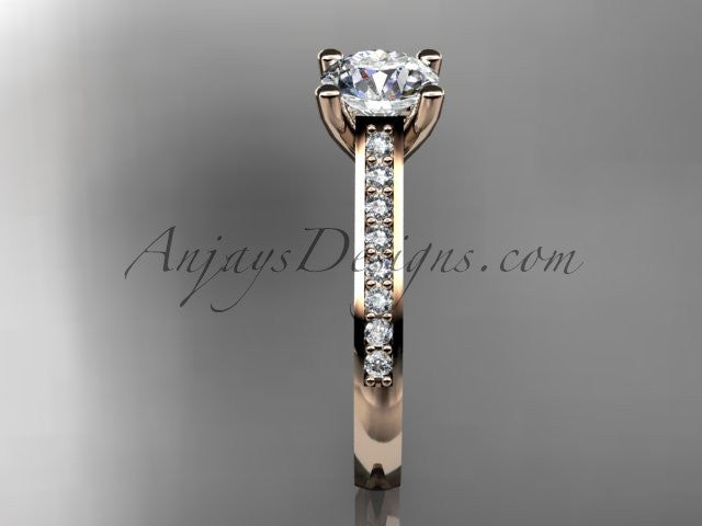 14kt rose gold diamond unique engagement ring, wedding ring ADER116 - AnjaysDesigns