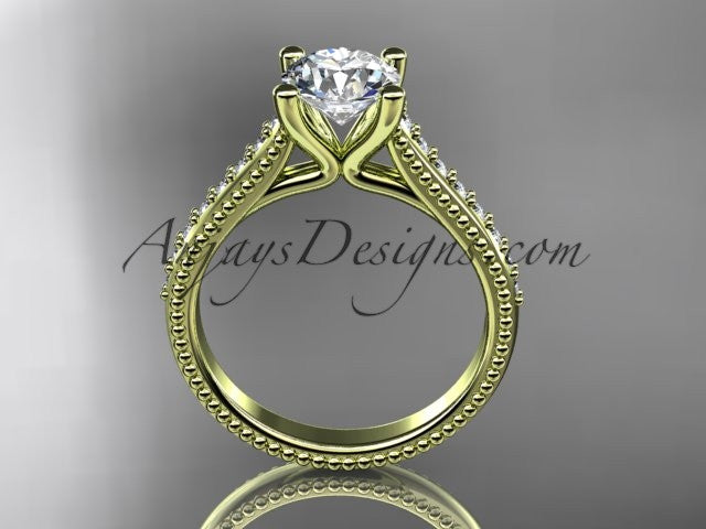 14kt yellow gold diamond unique engagement ring, wedding ring ADER116 - AnjaysDesigns