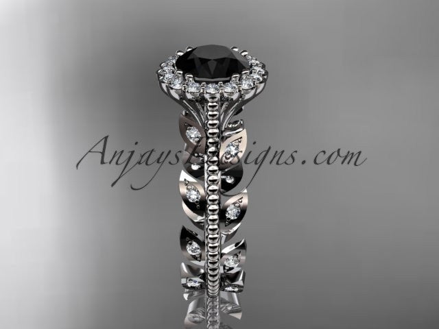 14k white gold diamond leaf and vine wedding ring, engagement ring with a Black Diamond center stone ADLR118 - AnjaysDesigns