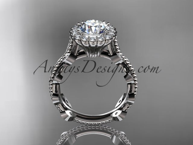 "14k white gold diamond leaf and vine wedding ring, engagement ring with a ""Forever One"" Moissanite center stone ADLR118 - AnjaysDesigns"