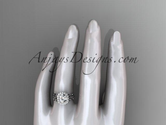 platinum diamond leaf and vine wedding ring, engagement ring ADLR118 - AnjaysDesigns