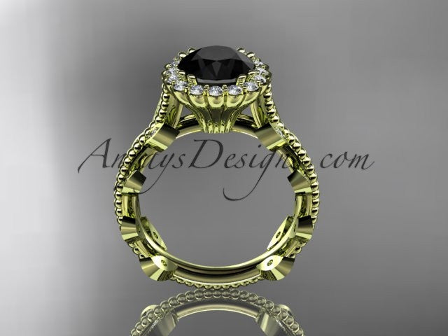 14k yellow gold diamond leaf and vine wedding ring, engagement ring with a Black Diamond center stone ADLR118 - AnjaysDesigns