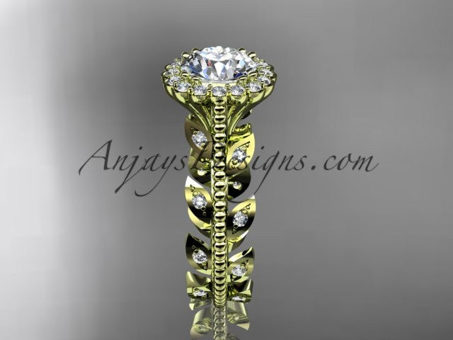 14k yellow gold diamond leaf and vine wedding ring, engagement ring ADLR118 - AnjaysDesigns