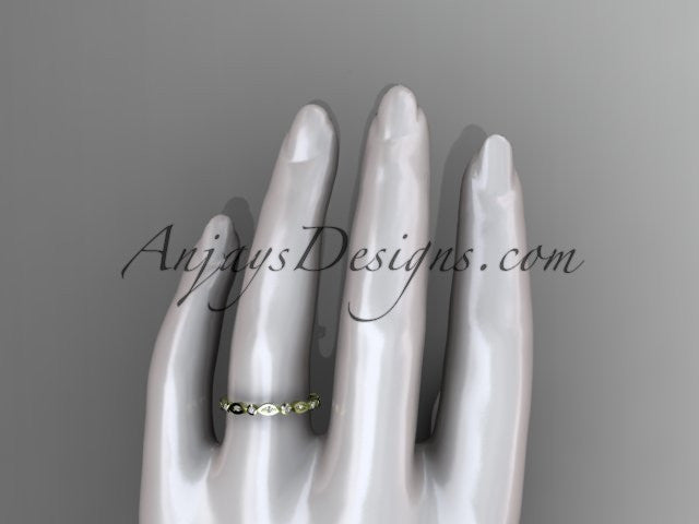 14k yellow gold diamond leaf and vine wedding band,engagement ring ADLR11B - AnjaysDesigns