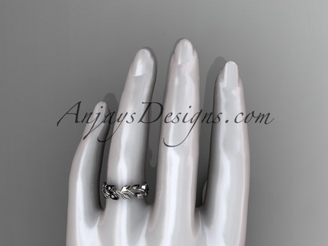platinum diamond leaf wedding ring, wedding band ADLR120 - AnjaysDesigns