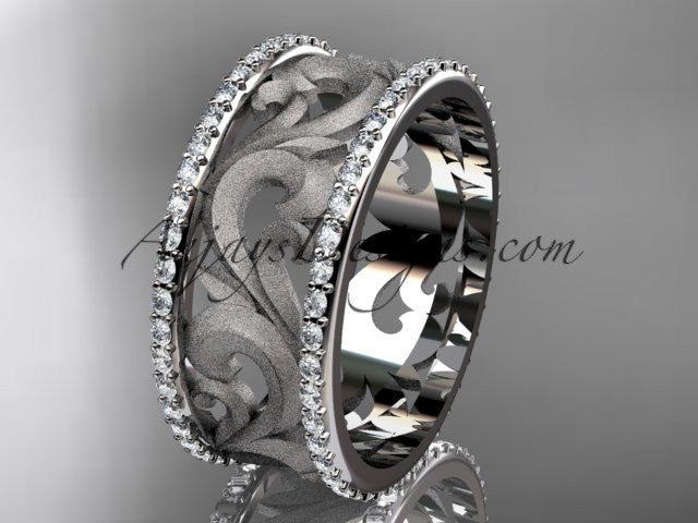 platinum diamond engagement ring, wedding band ADLR121BD - AnjaysDesigns