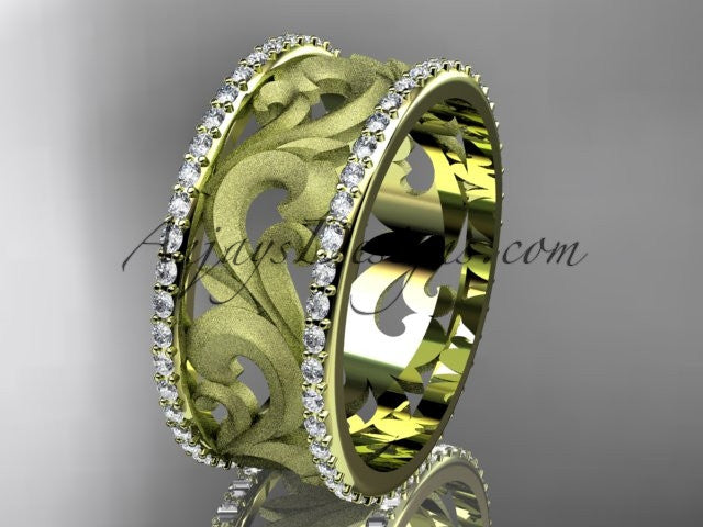 14kt yellow gold diamond engagement ring, wedding band ADLR121BD - AnjaysDesigns