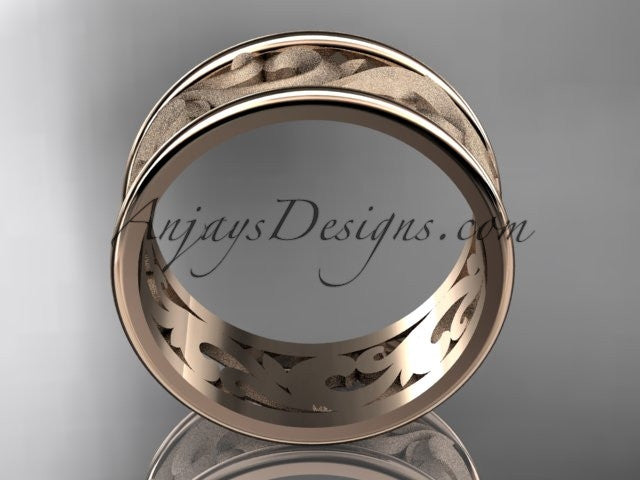 14kt rose gold leaf and vine wedding ring, engagement ring, wedding band ADLR121 - AnjaysDesigns